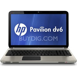 HP Pavilion DV6-6C16NR 15.6 inch 6GB LED Entertainment Notebook with 2.2Ghz Intel Core i7-2670QM Processor, 750GB HDD, Webcam, Bluetooth