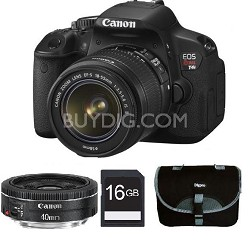 Canon EOS Digital Rebel T4i 18MP Camera w/ 18-55mm IS and 40mm STM Lenses + 16GB Card
