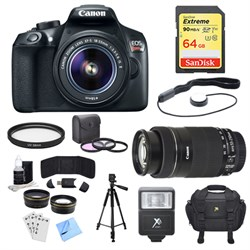 Canon EOS Rebel T6 DSLR Camera with 18-55mm, 55-250nmm Le...