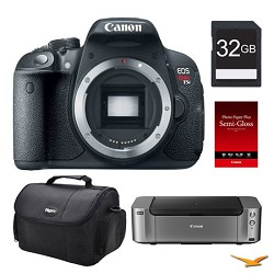 Canon EOS T5i DSLR Camera (Body), 32GB, Printer Bundle - PRICE AFTER $350.00 REBATE