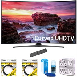 "Samsung 49"" Curved 4K Ultra HD Smart LED TV 2017 Model with Cleaning Bundle"