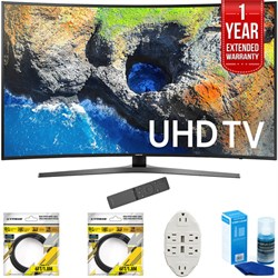 "Samsung 54.6"" Curved 4K Ultra HD Smart LED TV 2017 Model (UN55MU7500) With 2X 6FT High Speed Hdmi Cable, Transformer TAP USB W/ 6-OUTLET, Screen Cleaner For LED TVS & 1 Year Extended"