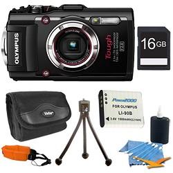 Olympus TG-3 16MP 1080p HD Shockproof Waterproof Digital Camera Black 16 GB Kit