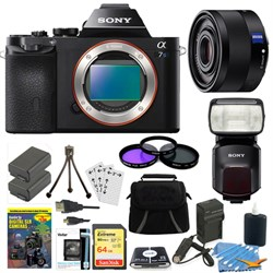 Sony ILCE-7S/B a7S Full Frame Camera, 35mm Lens, 64GB Car...