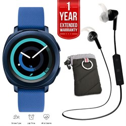 Samsung Gear Sport Watch (Blue) with Case, Bluetooth Earbuds, Extended Warranty E1SAMGEARS600NZB