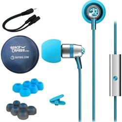 MEElectronics Crystal In-Ear Headphones w/ Microphone Turquoise w/ Case Bundle E1MEEEPM11JTQ