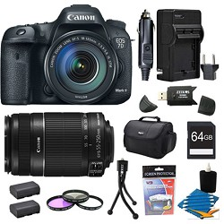 Canon EOS 7D Mark II DSLR Camera with 18-135mm IS STM and 55-250mm IS Lens 64GB Bundle