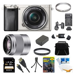 Sony Alpha a6000 Silver Camera with 16-50mm Lens, 50mm Lens, and 32GB Card Bundle E6SNILCE6000LS