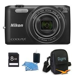 Nikon COOLPIX S6800 16MP 1080p HD Video Digital Camera Black 8GB Kit Refurbished