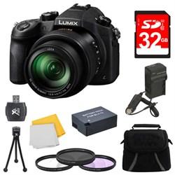 Panasonic LUMIX FZ1000 4K QFHD/HD 16X Long Zoom Digital Camera 32GB Bundle (Black) E2PNDMCFZ1000