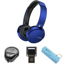 Sony XB Series Wireless Bluetooth Headphones w/ Extra Bass-Blue w/ Flash Drive Bundle E1SNMDRXB650BTBL