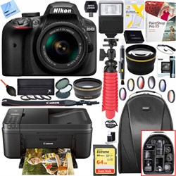 Nikon D3400 24.2 MP DSLR Camera w/ 18-55mm VR Lens + Cano...