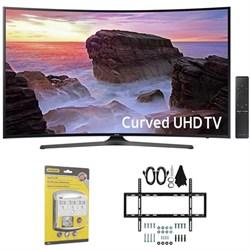 "Samsung Curved 55"" 4K Ultra HD Smart LED TV (2017 Model) w/ Wall Mount Bundle"