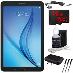 "Samsung Galaxy Tab E 9.6"" 16GB Tablet PC (Wi-Fi) - Black 16GB microSD Card Bundle includes Tablet, Memory Card, Cleaning Kit, 3 Stylus Pens, Metal Ear Buds and Protective Sleeve"