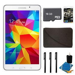 Samsung Galaxy Tab 4 White 8GB 7 Tablet, 16GB Card, and Case Bundle