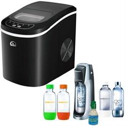 Igloo Compact Ice Maker Black w/ Exclusive SodaStream Fountain Jet Soda Maker Bundle E2IGLICE101BLK