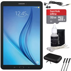 "Samsung Galaxy Tab E 9.6"" 16GB Tablet PC (Wi-Fi) - Black 32GB microSD Card Bundle includes Tablet, Memory Card, Cleaning Kit, 3 Stylus Pens, Metal Ear Buds and Protective Sleeve"