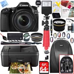 Canon EOS 80D Digital SLR Camera w/ EF-S 18-55mm Lens + C...