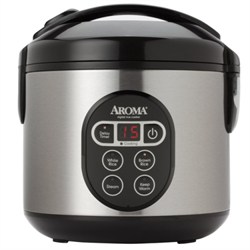Aroma 8-Cup (Cooked) Digital Rice Cooker and Food Steamer, Stainless Steel AMARC914SBD