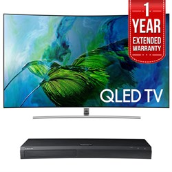 QN65Q8C Curved 65-Inch 4K Ultra HD Smart QLED TV (2017 Model) w/ Samsung 4K Ultra HD Blu-ray Player & 1 Year Extended Warranty