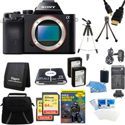 Sony Alpha 7 a7 Digital Camera and 2 64 GB SDHC Cards and 2 Batteries Bundle