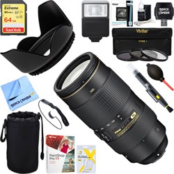 Nikon AF-S NIKKOR 80-400mm f.4.5-5.6G ED VR Lens + 64GB U...