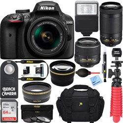 Nikon D3400 DSLR Camera w/ AF-P DX 18-55mm & 70-300mm VR ...