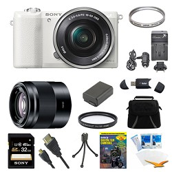 Sony a5100 Mirrorless Camera w/ 16-50mm and 50mm Lens Whi...