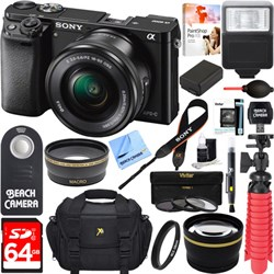 Sony Alpha a6000 24.3MP Mirrorless Camera 16-50mm Power Zoom Lens 64GB Accessory Kit E12SNILCE6000LB