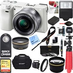 Sony Alpha a6000 24.3MP White Mirrorless Camera 16-50mm Z...