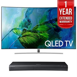 "Samsung Curved 55"" 4K UHD Smart QLED TV + HD Blu-ray Player + Extended Warranty"