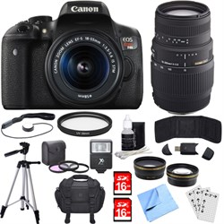 Canon EOS Rebel T6i Digital SLR Camera w/EF-S 18-55mm + 7...