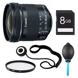 Canon EF-S 10-18mm F4.5-5.6 IS STM Lens, Filter, and 8GB ...