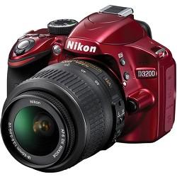 Nikon D3200 DX-format Digital SLR Kit  18-55mm VR Zoom Lens (Red) Factory Refurbished