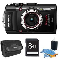 Olympus TG-3 16MP 1080p HD Shockproof Waterproof Digital Camera Black 8 GB Kit