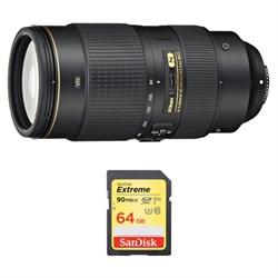 Nikon AF-S NIKKOR 80-400mm f.4.5-5.6G ED VR Lens and 64GB...