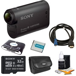 Sony HDR-AS20/B Compact POV Action Cam Camcorder Bundle