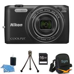 Nikon COOLPIX S6800 16MP 1080p HD Video Digital Camera Black 16GB Kit Refurbished