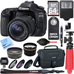 Canon EOS 80D CMOS DSLR Camera w/EF-S 18-55mm F3.5-5.6 IS...