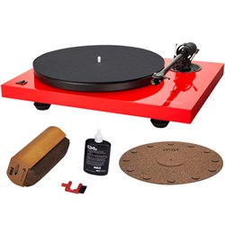 Music Hall 2-Speed Audiophile Turntable w/ Cartridge Red w/ Platter Mat Bundle E1MHMMF23LE