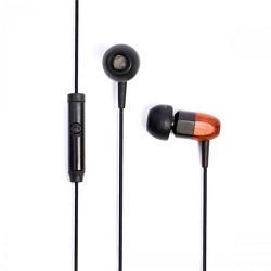thinksound ts02+Mic 8mm Noise Isolating Wooden Headphone Black/Chocolate (ts02-mic-blkchoc)