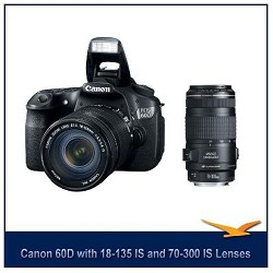 Canon EOS 60D 18 MP SLR Digital Camera w/ 18-135 Lens w/ Canon 70-300 IS USM Lens