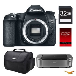 Canon EOS 70D DSLR Camera (Body), 32GB, Printer Bundle - PRICE AFTER $350.00 REBATE