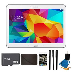 Samsung Galaxy Tab 4 White 16GB 10.1 Tablet, 16GB Card, and Case Bundle