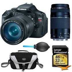 Canon EOS Digital Rebel T3i 18MP SLR Camera 18-135mm & 75-300mm Instant Rebate Bundle