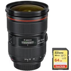 Canon EF 24-70mm f/2.8L II USM Lens w/ Sandisk 64GB Extre...