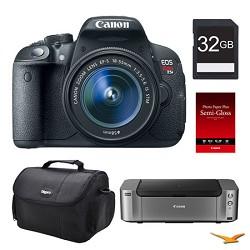 Canon EOS T5i DSLR Camera 18-55mm Lens, 32GB, Printer Bundle