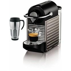 Nespresso Pixie Espresso Maker with Big Joe Thermal Travel Mug Bundle E1NESC60USTINE