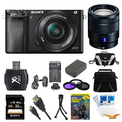 Sony Alpha a6000 Black Interchangeable Lens Camera, 16-50mm, and 16-70mm Lens Bundle E5SNILCE6000LB