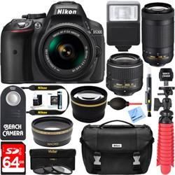 Nikon D5300 DSLR Camera w/ AF-P DX 18-55mm & 70-300mm Zoom Lens 64GB Accessory Bundle E12NKD5300X2LENSK